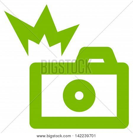 Camera Flash vector icon. Style is linear flat icon symbol, eco green color, white background.