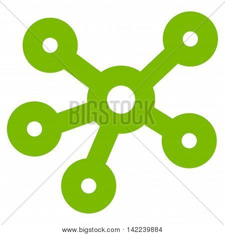 Hub Links vector icon. Style is linear flat icon symbol, eco green color, white background.