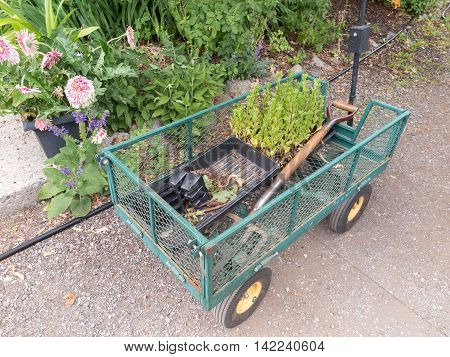 Garden cart with tools and garden refuse
