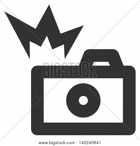 Camera Flash vector icon. Style is contour flat icon symbol, gray color, white background.