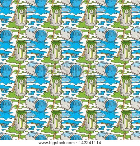 Seamless Vector Pattern with a Paintbrushes Roller Brushes and Paint Cans of Blue and Green Paint on a White Background
