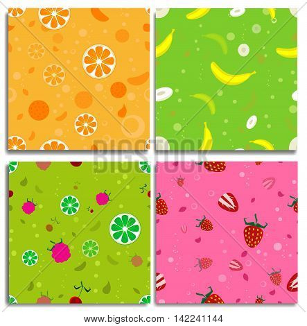 Four cute seamless patters with fruits. With orange bannana strawberry and mix from different fruits.Good for design of the packaging material clothing. Vector