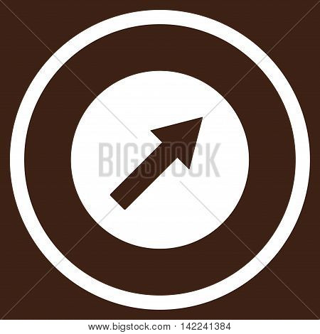 Up-Right Rounded Arrow vector icon. Style is flat rounded iconic symbol, up-right rounded arrow icon is drawn with white color on a brown background.
