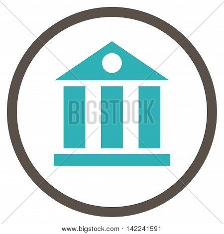 Bank Building vector icon. Style is bicolor flat rounded iconic symbol, bank building icon is drawn with grey and cyan colors on a white background.