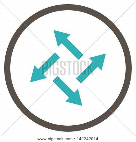 Centrifugal Arrows vector icon. Style is bicolor flat rounded iconic symbol, centrifugal arrows icon is drawn with grey and cyan colors on a white background.