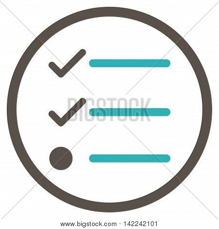 Checklist vector icon. Style is bicolor flat rounded iconic symbol, checklist icon is drawn with grey and cyan colors on a white background.
