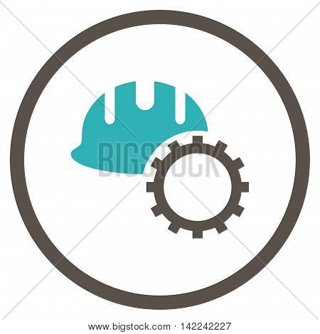 Development Hardhat vector icon. Style is bicolor flat rounded iconic symbol, development hardhat icon is drawn with grey and cyan colors on a white background.
