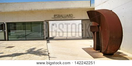 Palma de Majorca Spain - June 25 2008: Entrance to museum Es Baluard Museu d'Art Modern i Contemporani de Palma - sculpture in front