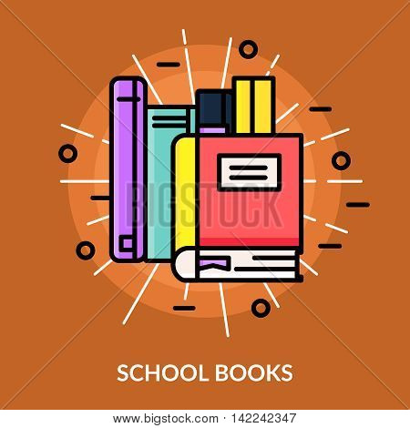 Multicolored school books icon in the middle of bright rays on brown background vector illustration