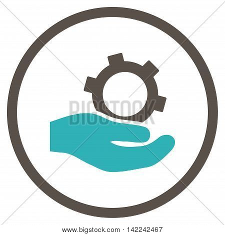 Engineering Service vector icon. Style is bicolor flat rounded iconic symbol, engineering service icon is drawn with grey and cyan colors on a white background.