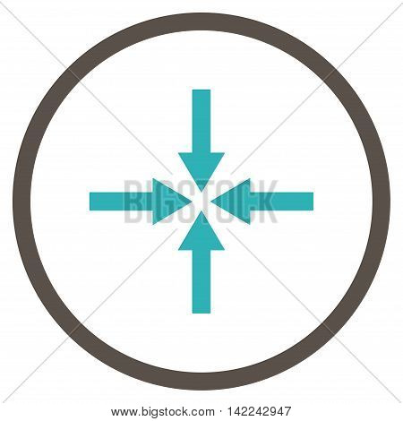 Impact Arrows vector icon. Style is bicolor flat rounded iconic symbol, impact arrows icon is drawn with grey and cyan colors on a white background.