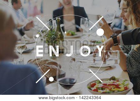 Enjoy Happy Pleasure Joy Concept