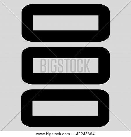 Database glyph icon. Style is outline flat icon symbol, black color, light gray background.