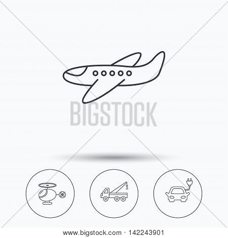 Electric car, airplane and helicopter icons. Evacuator linear sign. Linear icons in circle buttons. Flat web symbols. Vector