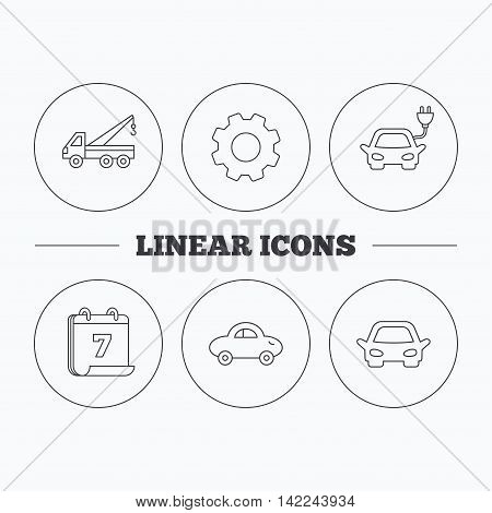 Electric car, evacuator and transport icons. Car linear signs. Flat cogwheel and calendar symbols. Linear icons in circle buttons. Vector