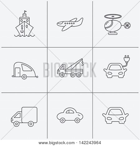 Transportation icons. Car, ship and truck linear signs. Airplane, helicopter and evacuator flat line icons. Linear icons on white background. Vector