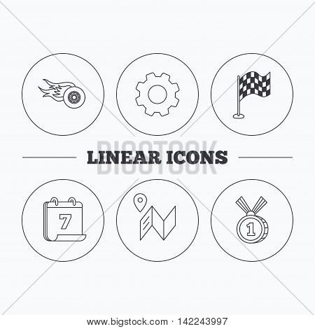 Race flag, map and winner award icons. First place medal, wheel on fire linear signs. Flat cogwheel and calendar symbols. Linear icons in circle buttons. Vector