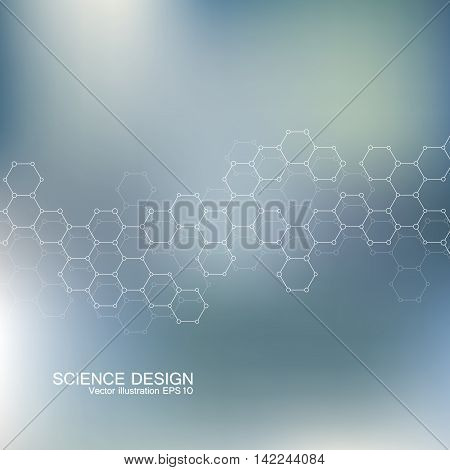 Structure molecule of DNA and neurons. Structural atom. Chemical compounds. Medicine, science, technology concept. Geometric abstract background. Vector illustration for your design