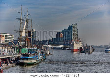 HAMBURG GERMANY - NOVEMBER 01 2015: Thousands of tourists populating the harbor promenade of Hamburg