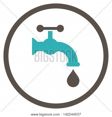 Water Tap vector icon. Style is bicolor flat rounded iconic symbol, water tap icon is drawn with grey and cyan colors on a white background.