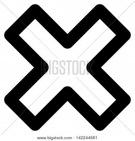 Delete X-Cross vector icon. Style is linear flat icon symbol, black color, white background.