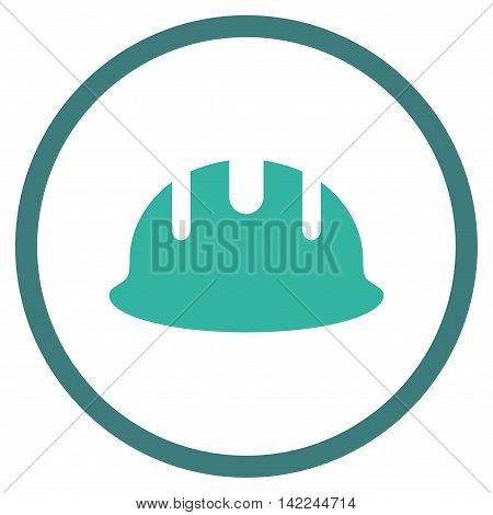 Builder Hardhat vector icon. Style is bicolor flat rounded iconic symbol, builder hardhat icon is drawn with cobalt and cyan colors on a white background.