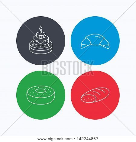 Croissant, cake and bread icons. Sweet donut linear sign. Linear icons on colored buttons. Flat web symbols. Vector