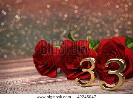 birthday concept with red roses on wooden desk. 3D render - thirty-third birthday. 33rd