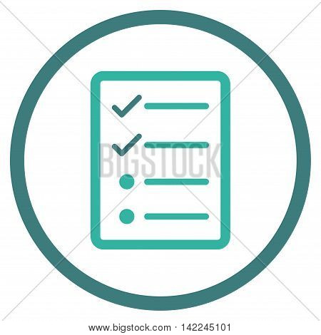 Checklist Page vector icon. Style is bicolor flat rounded iconic symbol, checklist page icon is drawn with cobalt and cyan colors on a white background.