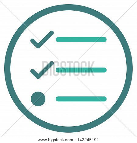 Checklist vector icon. Style is bicolor flat rounded iconic symbol, checklist icon is drawn with cobalt and cyan colors on a white background.