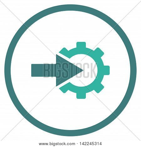 Cog Integration vector icon. Style is bicolor flat rounded iconic symbol, cog integration icon is drawn with cobalt and cyan colors on a white background.