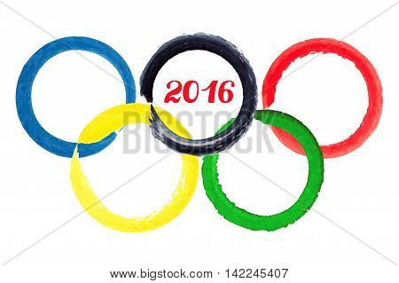 Olympic games 2016.Vector illustration, watercolor  brush painted olympic  rings, circle on over white background.Emblem, symbol, banner
