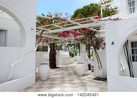 Building of hotel in traditional Greek style Santorini island Greece