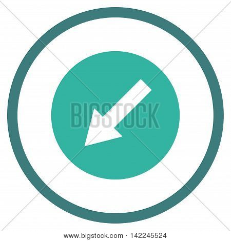 Down-Left Rounded Arrow vector icon. Style is bicolor flat rounded iconic symbol, down-left rounded arrow icon is drawn with cobalt and cyan colors on a white background.