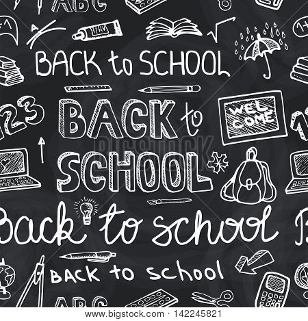 Back to School Supplies  Seamless pattern.Doodles Sketchy Notebook  with Lettering and Hand Drawing icons.Vector Illustration chalk Design Elements on blackboard Background.Teachers day