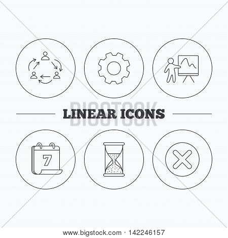 Teamwork, presentation and hourglass icons. Delete or remove linear sign. Flat cogwheel and calendar symbols. Linear icons in circle buttons. Vector