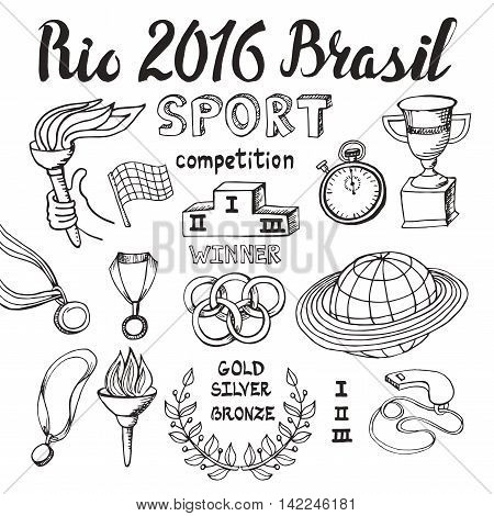 Brasil, Rio 2016 set.Sport doodle elements, lettering. Vector Winner of the competition set.Hand drawing sketch.Cup, medal, sport equipment icons. Handwriting numbers and words, illustrations