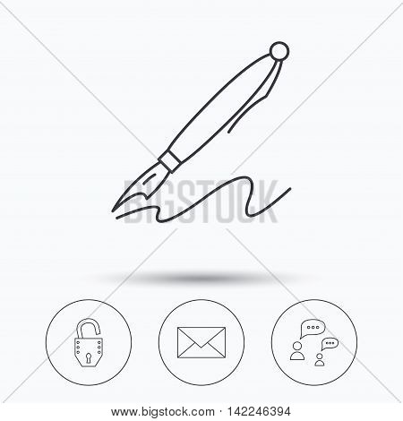 Dialog, mail envelope and open lock icons. Pen linear sign. Linear icons in circle buttons. Flat web symbols. Vector