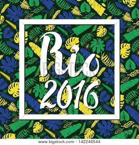Rio Brazil background.Title Hurrah Brasil.Tropical palm leaves hurrahpattern.Vector leaf , plant Silhouette the colors of the flag of Brazil , black background.Summer Illustration, banner for ompetition 2016