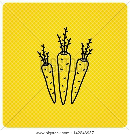 Carrots icon. Vegetarian food sign. Natural vegetables symbol. Linear icon on orange background. Vector