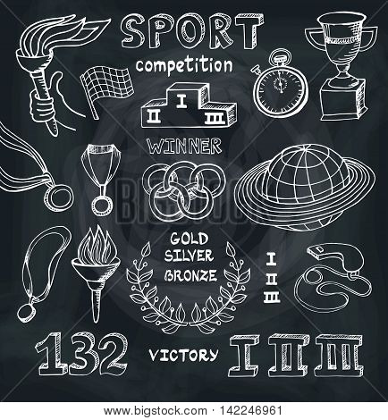 Sport doodle elements. Vector Winner of the competition set.Hand drawing sketch.Cup, medal, sport equipment icons. Handwriting numbers and words. Outline illustrations on Chalkboard