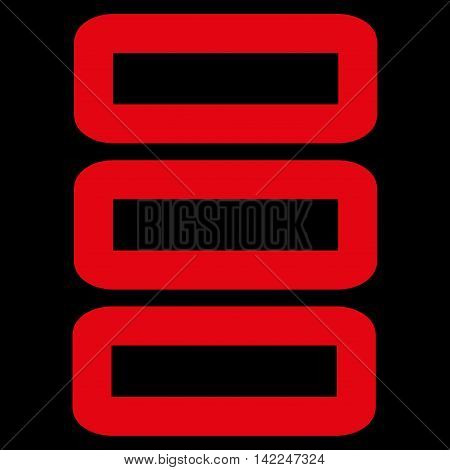 Database vector icon. Style is outline flat icon symbol, red color, black background.
