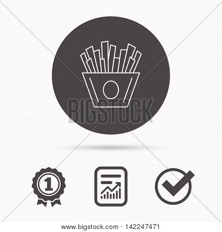 Chips icon. Fries fast food sign. Fried potatoes symbol. Report document, winner award and tick. Round circle button with icon. Vector