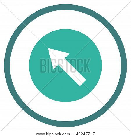 Up-Left Rounded Arrow vector icon. Style is bicolor flat rounded iconic symbol, up-left rounded arrow icon is drawn with cobalt and cyan colors on a white background.