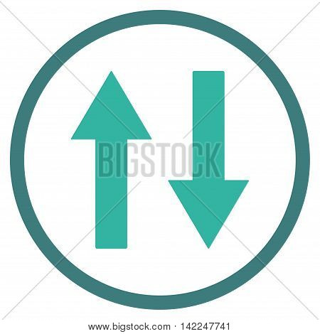 Vertical Flip Arrows vector icon. Style is bicolor flat rounded iconic symbol, vertical flip arrows icon is drawn with cobalt and cyan colors on a white background.