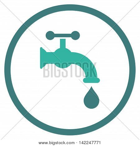 Water Tap vector icon. Style is bicolor flat rounded iconic symbol, water tap icon is drawn with cobalt and cyan colors on a white background.