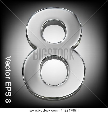 Vector 3d metal number collection - 8. Eps 8 using mesh.