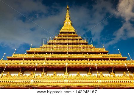 Thailand Bhudda Temple Golden Stupa Khonkaen Landmark,temple Against Blue Sky In Khon Kaen, Thailand