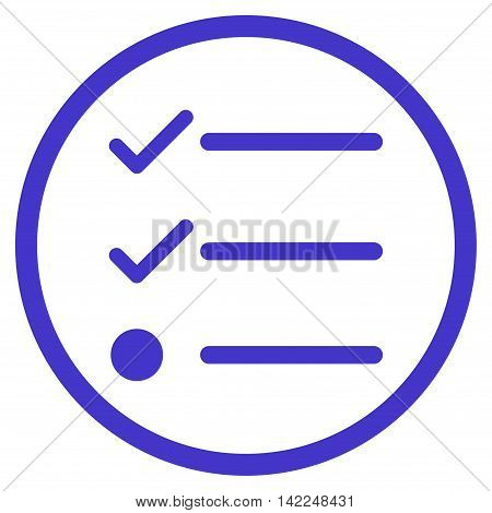 Checklist vector icon. Style is flat rounded iconic symbol, checklist icon is drawn with violet color on a white background.