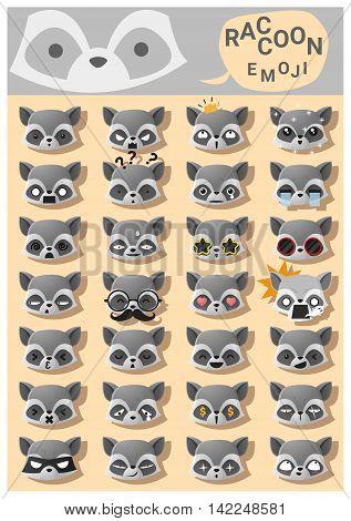 Raccoon emoji icons , vector , illustration